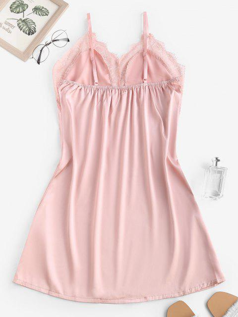 buy Satin Lace Insert Cami Night Dress - LIGHT PINK S Mobile