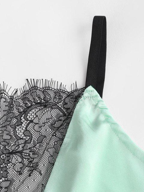 Blumenspitze Satin Pyjama Shorts Set - Hellgrün S Mobile