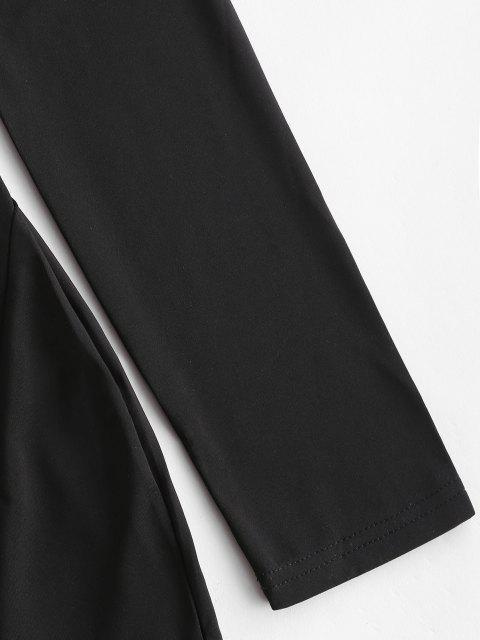 women's High Neck Slit Bodycon Dress - BLACK M Mobile