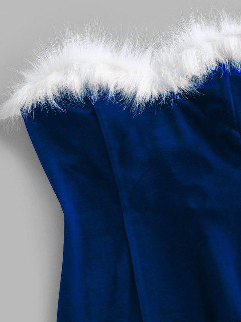 outfits ZAFUL Velour Back Lace Up Strapless Dress - BLUE L Mobile