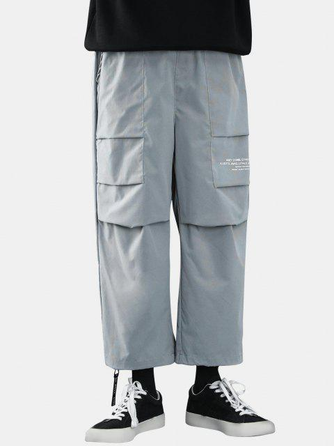 Pantalones Casual Estampado Letras Texto - Gris Claro S Mobile