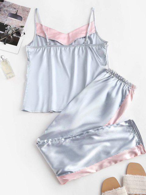 Satin Farbblock Pyjama Hosen Set - Multi S Mobile