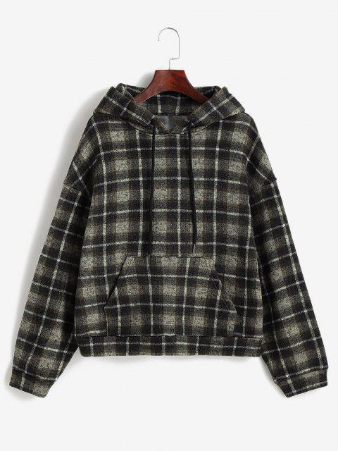 ZAFUL Plaid Fleece Lined Knitted Pocket Hoodie - دب بنى S Mobile