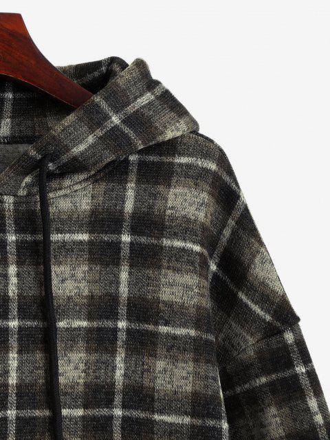 best ZAFUL Plaid Fleece Lined Knitted Pocket Hoodie - BROWN BEAR L Mobile