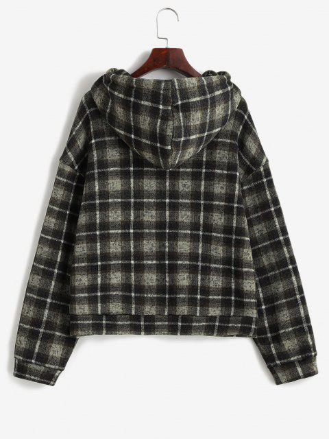 ZAFUL Plaid Fleece Lined Knitted Pocket Hoodie - دب بنى L Mobile