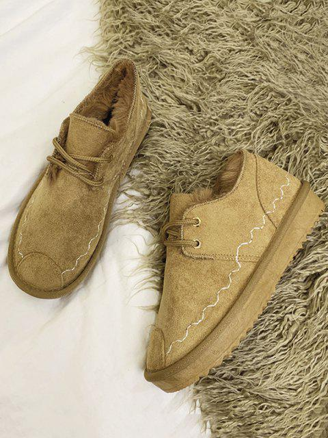fancy Lace Up Faux Fur Flat Shoes - BROWN EU 37 Mobile