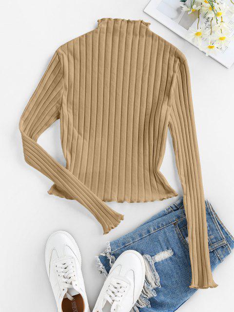 ladies ZAFUL Lettuce Trim Ribbed Knit T Shirt - TAN S Mobile