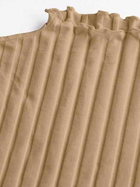 women ZAFUL Lettuce Trim Ribbed Knit T Shirt - TAN XL Mobile
