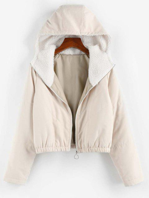 womens ZAFUL Quilted Teddy Lined Hooded Zipper Coat - LIGHT KHAKI L Mobile