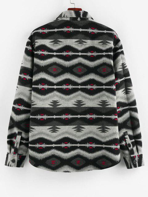 ZAFUL Veste Tribale avec Double Poches en Jacquard - Noir S Mobile