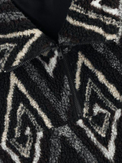 new ZAFUL Zig Zag Pattern Quarter Zip Teddy Jacket - BLACK M Mobile