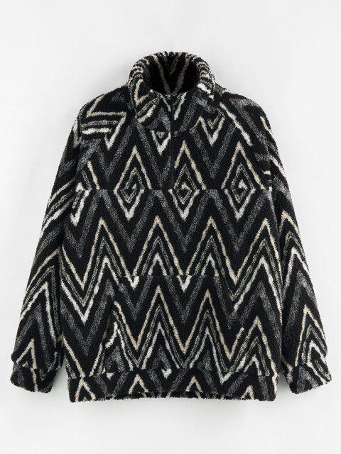 ZAFUL Veste Motif de Zigzag Zippée à 1 / 4 Zip - Noir XL Mobile