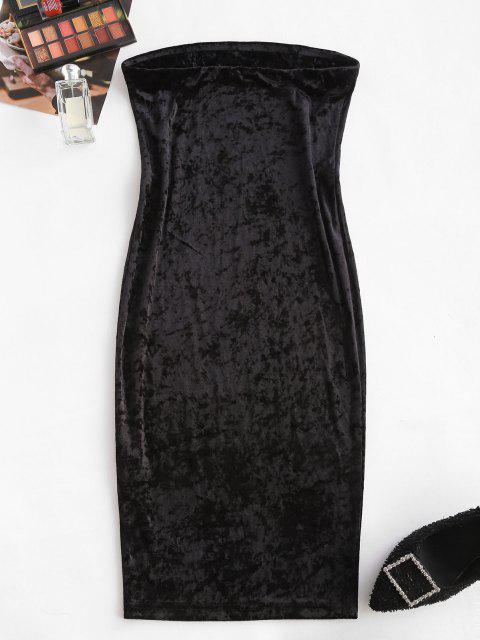 womens ZAFUL Strapless Velvet Midi Bodycon Dress - BLACK S Mobile