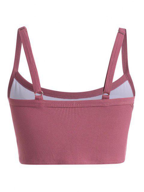 ZAFUL Plus Size Basic Ribbed Bikini Top - أحمر عميق XXL Mobile