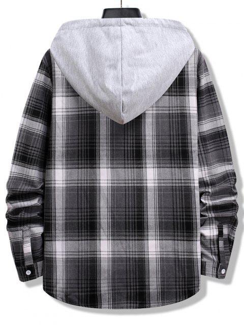 women's Colorblock Striped Plaid Pattern Button Up Shirt - BLACK XL Mobile