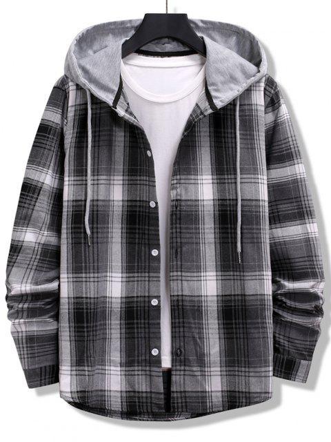 outfit Colorblock Striped Plaid Pattern Button Up Shirt - BLACK M Mobile