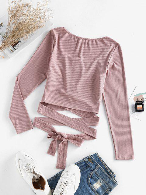 fashion ZAFUL Ribbed Snap Button Wrap Crop T Shirt - DEEP PINK S Mobile