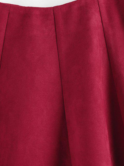 trendy ZAFUL Faux Suede Pleated Front Mini Skirt - DEEP RED S Mobile