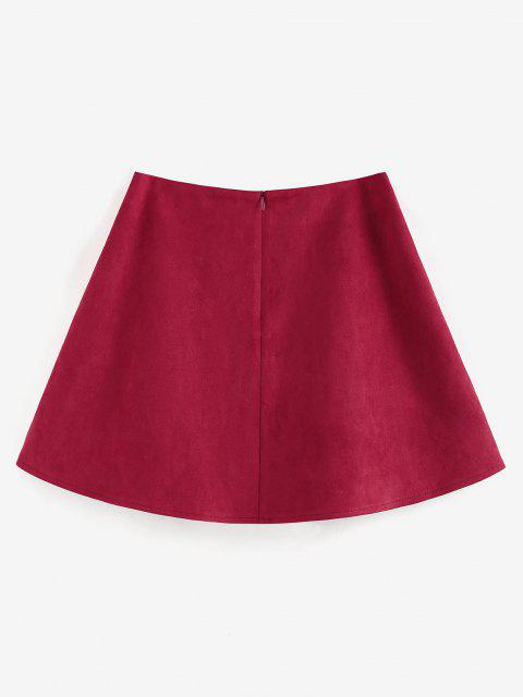 ZAFUL Faux Suede Pleated Front Mini Skirt - أحمر عميق S Mobile