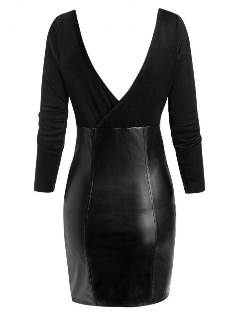 buy ZAFUL Plunging Zip Front Faux Leather Insert Bodycon Dress - BLACK M Mobile