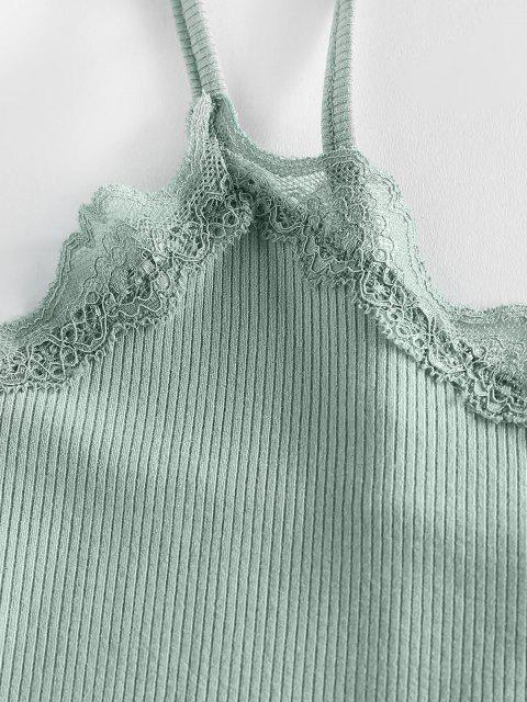 fancy ZAFUL Ribbed Lace Insert Lettuce Trim Crop Camisole - CYAN OPAQUE L Mobile
