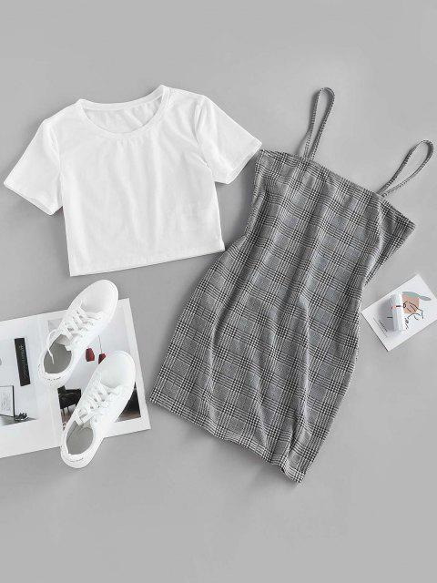 outfits ZAFUL Houndstooth Glen Check Cami Bodycon with Crop T Shirt - MULTI-A M Mobile