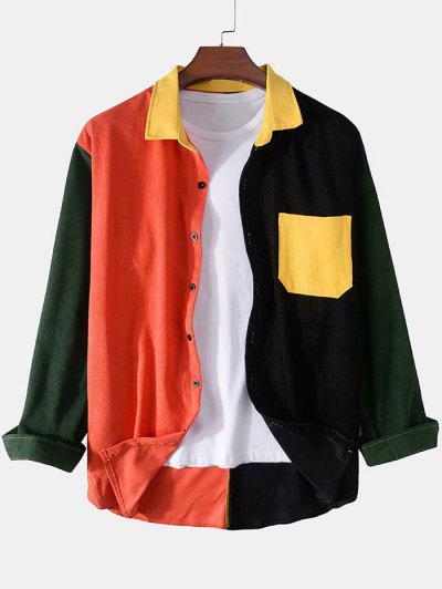Contrast Pocket Corduroy Shirt - Red Xl