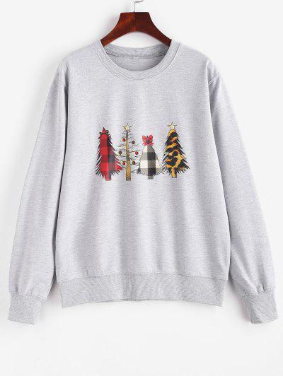 Crewneck Christmas Trees Sweatshirt - Gray Xl