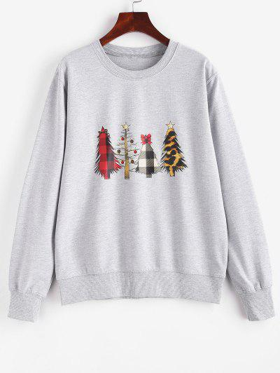 Crewneck Christmas Trees Sweatshirt - Gray S