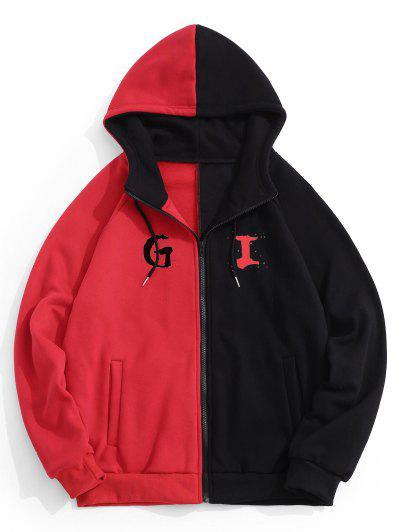 Hooded Letter Print Two Tone Fleece Jacket - Black S