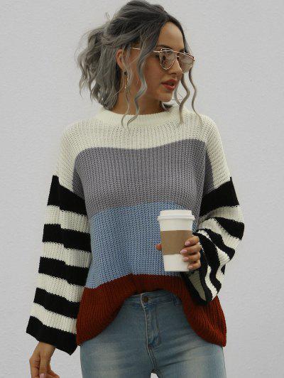Loose Colorblock Stripes Crew Neck Sweater - White S