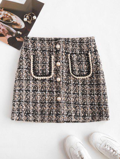 Pocket Faux Pearl Button Tweed Mini Skirt - Black Xl
