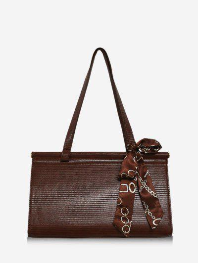 Solid Office Scarf Handbag - Coffee