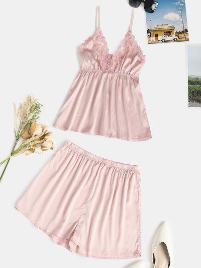 Lace Panel Satin Short PJ Set - Light Pink M
