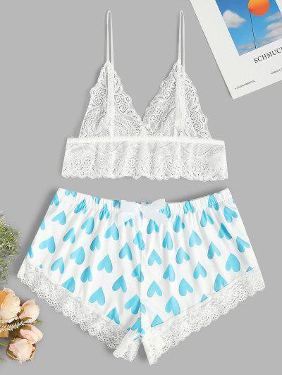 Hearts Print Lace Panel Lingerie Set - Blue S