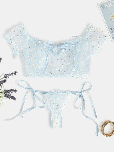 Floral Mesh Tie Lingerie Set - Light Blue S