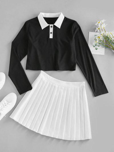 ZAFUL Button Placket Colorblock Pleated Skirt - Multi L