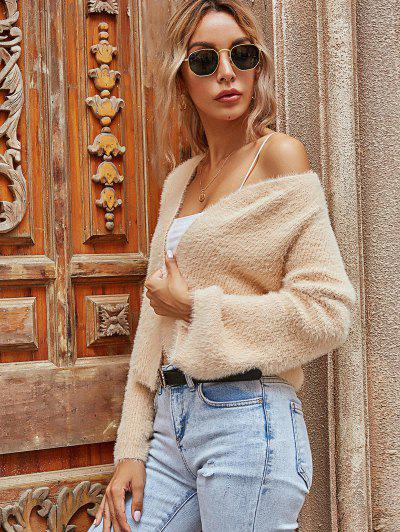 Open Front Flare Sleeve Fuzzy Cardigan - Light Coffee