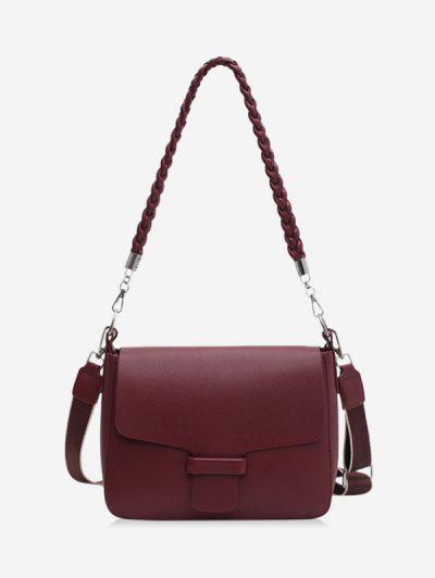Braid Strap Cover Shoulder Bag - Red Wine