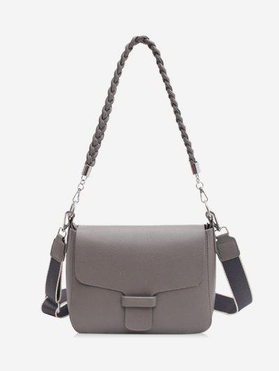 Braid Strap Cover Shoulder Bag - Gray