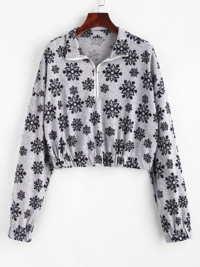 Christmas Snowflake Half Zip Knitwear - Gray L