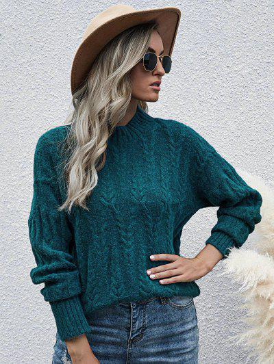Loose Mock Neck Cable Knit Sweater - Deep Green