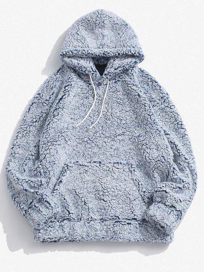 Kangaroo Pocket Faux Shearling Hoodie - Light Blue S