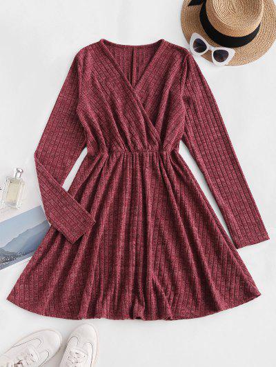 Robe Chinée Côtelée En Tricot à Manches Longues - Rouge Foncé Xl