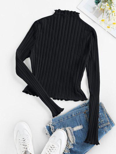 ZAFULレタストリムリブ付きニットTシャツ - 黒 M