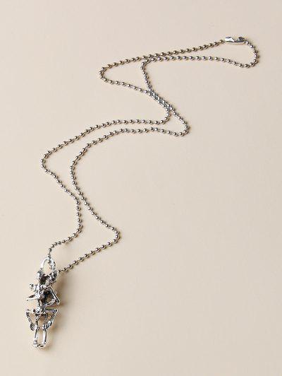 Punk Skeleton Pendant Necklace - Silver