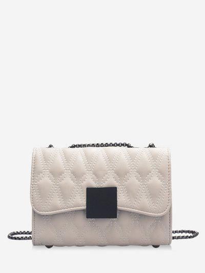 Water Drop Quilted Chain Crossbody Bag - White