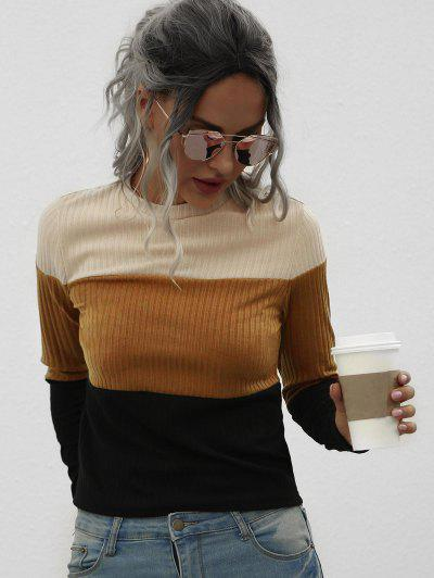 Fitted Ribbed Colorblock Knitwear - Coffee M