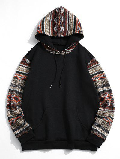 Tribal Patterned Kangaroo Pocket Fleece Hoodie - Black S