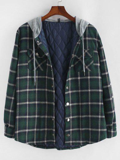 Plaid Print Double Pockets Hooded Padded Jacket - Deep Green Xl